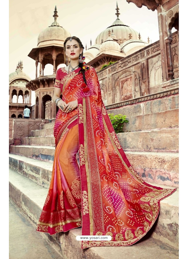 dc8c908430 Buy Delightful Red Georgette Party Wear Saree