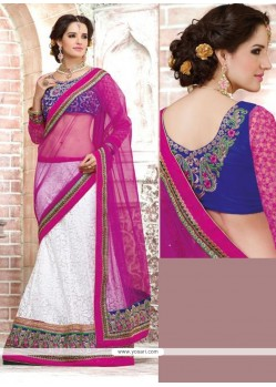 White And Magenta Net Brasso Lehenga Style Saree