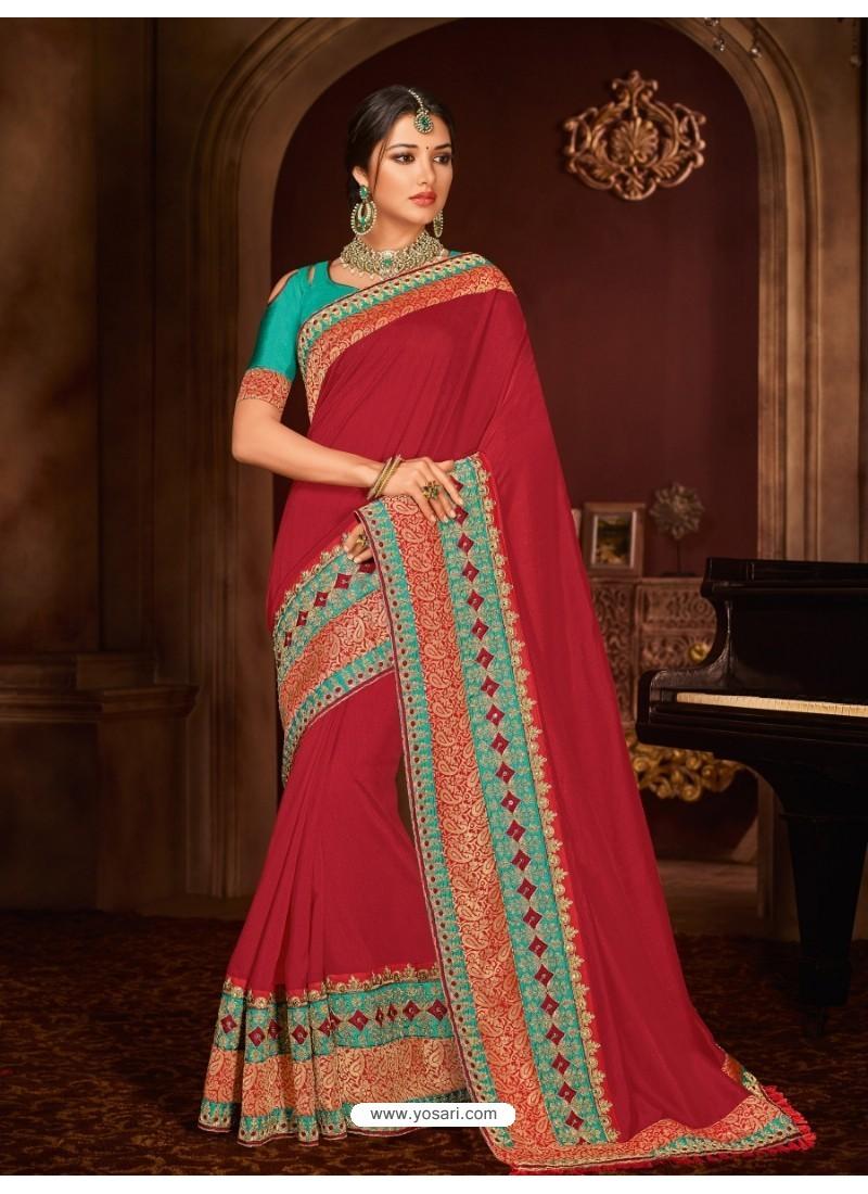 7ec8a310844 Buy Pretty Crimson Silk Saree