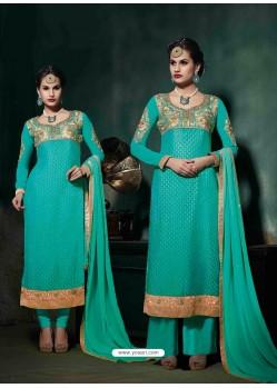 Turquoise Brasso Salwar Kameez