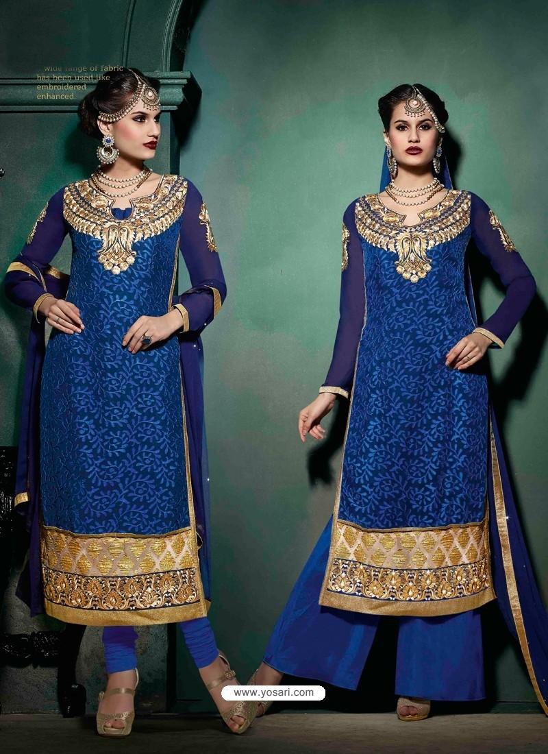 Blue Brasso Salwar Kameez