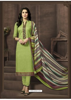 Magnificent Green Cotton Suit