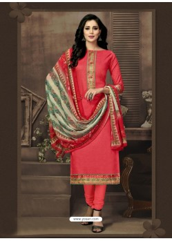 Modern Peach Cotton Churidar Suit