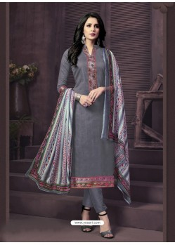 Exceptional Grey Cotton Churidar Suit