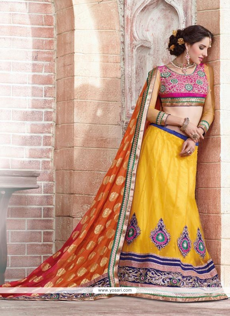 Yellow And Orange Viscose Jacquard Designer Lehenga Saree