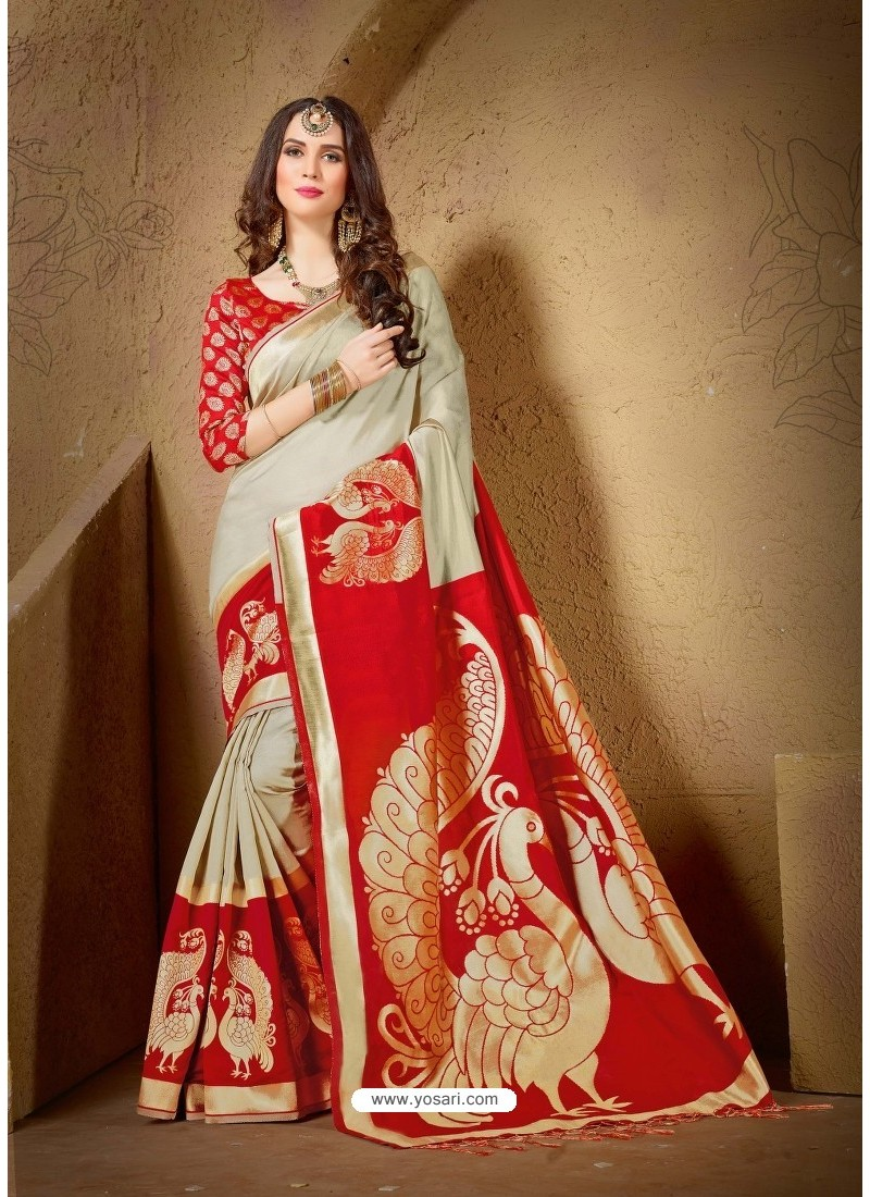 4d8295534ffa29 Buy Genius Red and Gold Jacquard Cotton Silk Saree