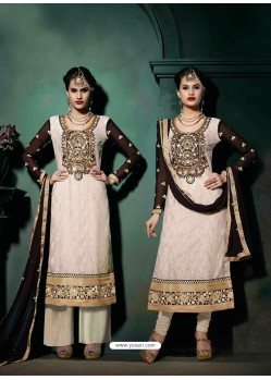 White And Black Brasso Salwar Kameez