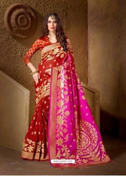 Fabulous Red and Pink Jacquard Designer Cotton Silk Saree