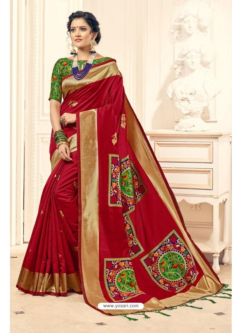 1d20c2750b8 Buy Heavenly Red Designer Banarasi Silk Saree