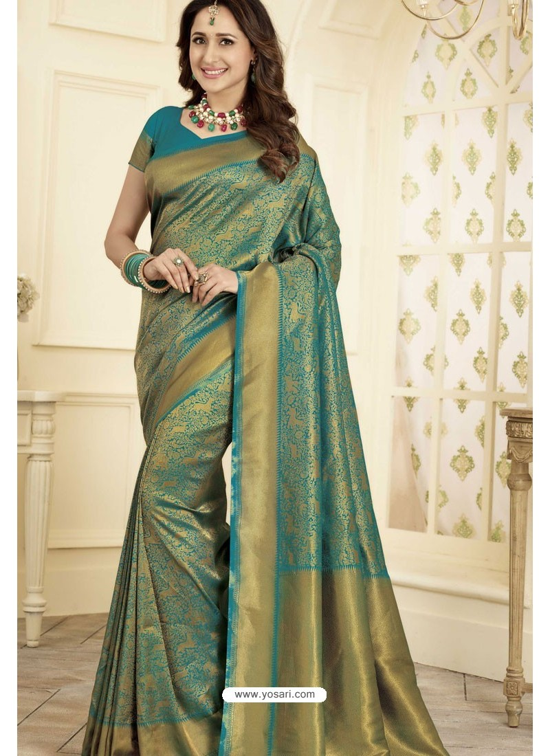 59bba7f2b8 Buy Decent Dark Green and Gold Traditional Banarasi Art Silk Saree ...
