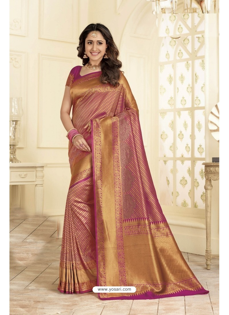 b20f36236 Buy Elegant Pink and Gold Traditional Banarasi Art Silk Saree ...