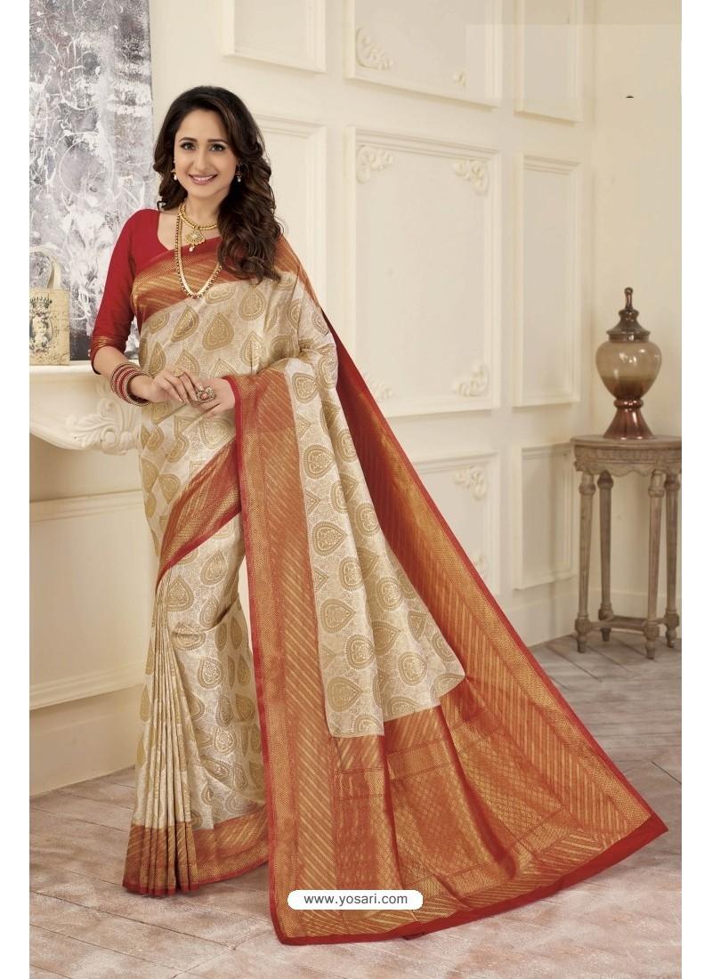 7c1218855c19f Buy Dazzling Cream and Gold Traditional Banarasi Art Silk Saree ...