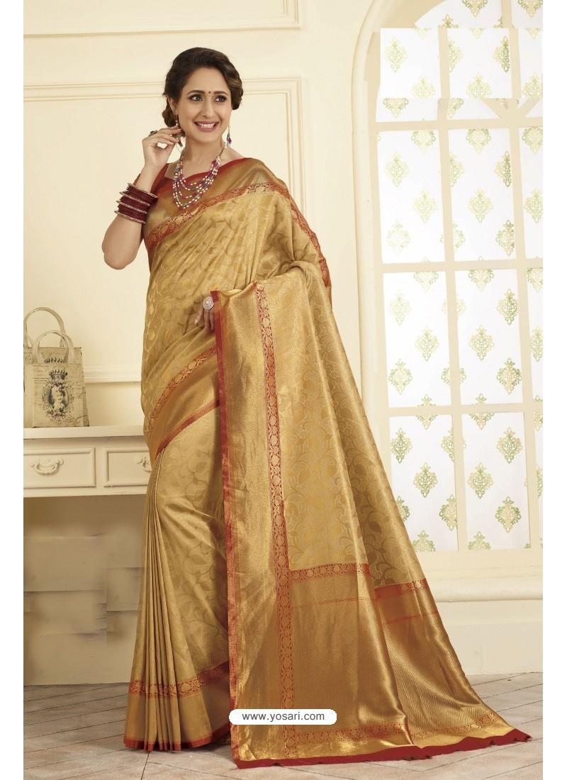 7d317f43f9da6 Buy Latest Golden Designer Banarasi Art Silk Saree