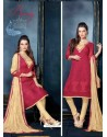 Maroon And Cream Unique Net Churidar Suit