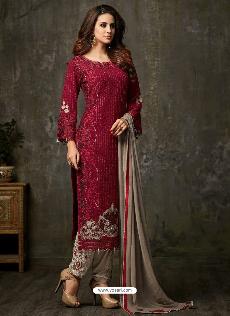 87dc2cada4 Buy Radiant Red and Grey Designer Salwar Suit   Designer Salwar Suits