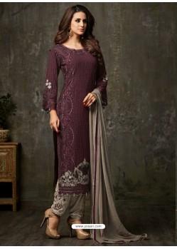 Delightful Deep Wine and Grey Designer Salwar Suit