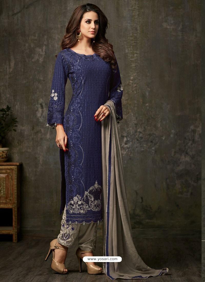 Girlish Dark Blue and Grey Designer Salwar Suit