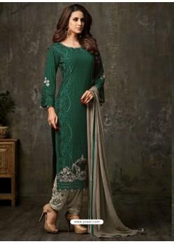 Fantastic Dark Green and Grey Designer Salwar Suit