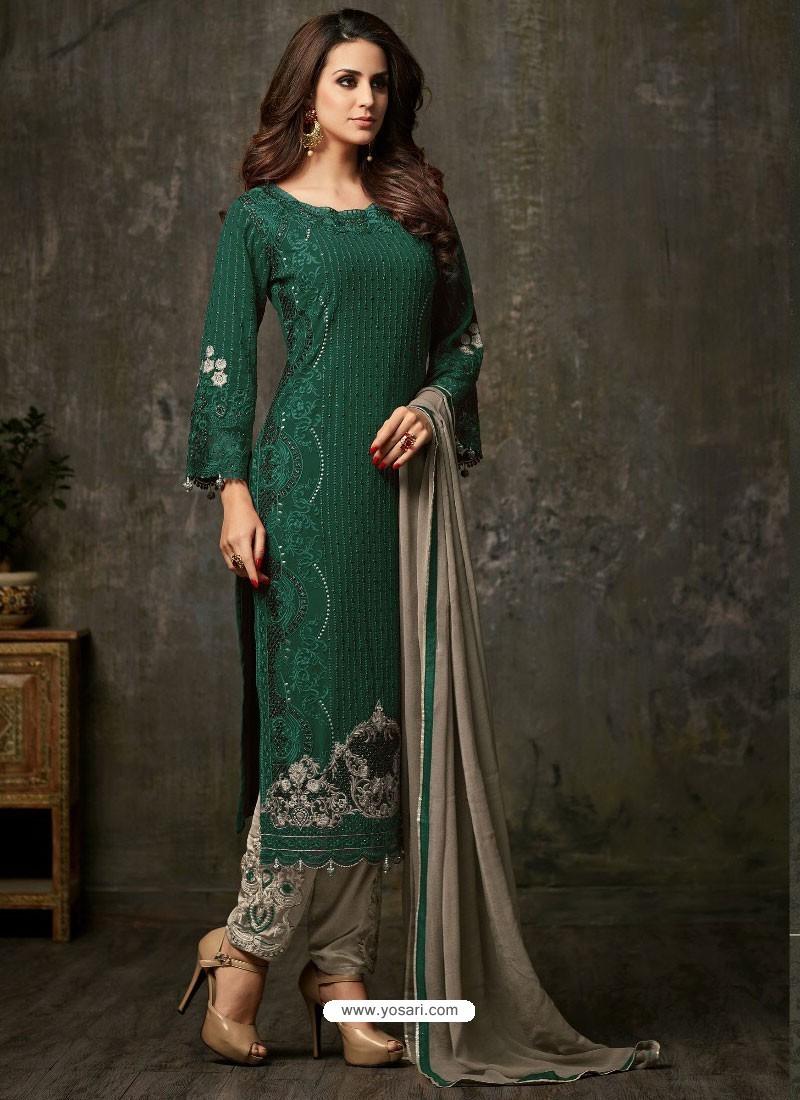 Buy Fantastic Dark Green And Grey Designer Salwar Suit Designer