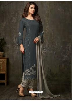 Fashionistic Carbon and Grey Designer Salwar Suit