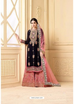 Modern Black Faux Georgette Heavy Embroidred Plazzo Suit