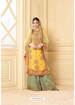 Exceptional Yellow Faux Georgette Heavy Embroidred Plazzo Suit