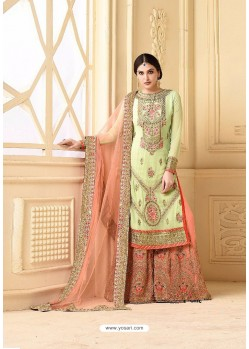 Magnificent Sea Green Faux Georgette Heavy Embroidred Plazzo Suit