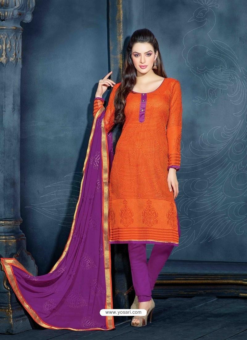 Orange Unique Net Churidar Suit