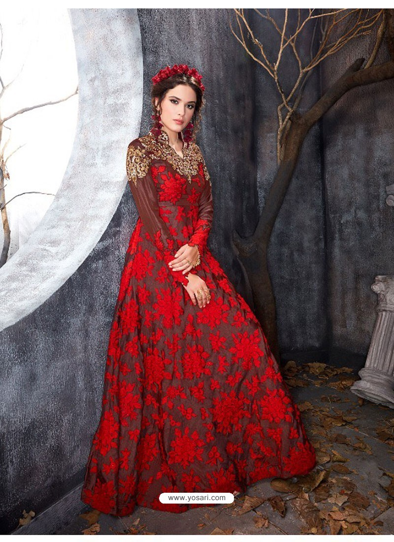 Buy Red and Black Shadow Silk Nett Gown | Gowns