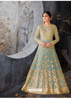 Sky Blue and Gold Five Star Nett Gown