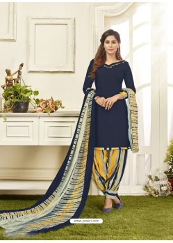Navy Blue Cotton Satin Printed Patiala Suits