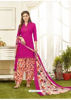 Pink Cotton Satin Printed Patiala Suits