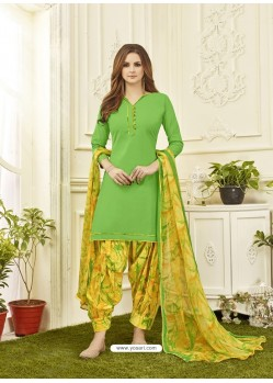 Parrot Green Cotton Satin Printed Patiala Suits