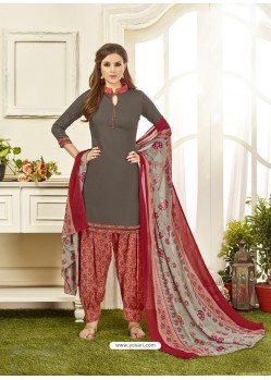 Dull Grey Cotton Satin Printed Patiala Suits