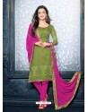 Green And Pink Unique Net Churidar Suit