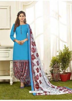 Turquoise Cotton Satin Printed Patiala Suits