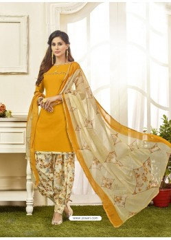 Yellow Cotton Satin Printed Patiala Suits