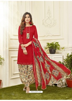 Red Cotton Satin Printed Patiala Suits