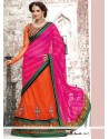 Elite Orange And Magenta Georgette Bandhani Lehenga Saree