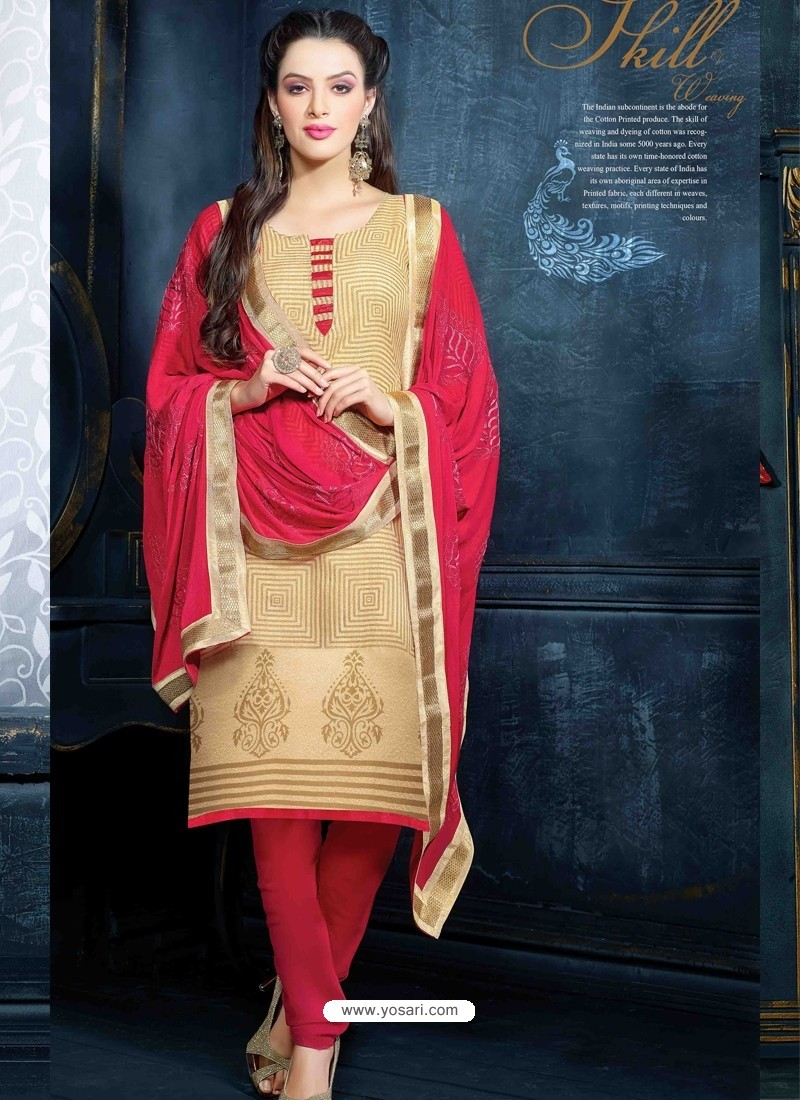 Cream Unique Net Churidar Suit