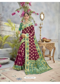 Stunning Deep Scarlet And Green Banarasi Silk Saree