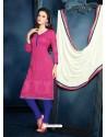 Pink Unique Net Churidar Suit
