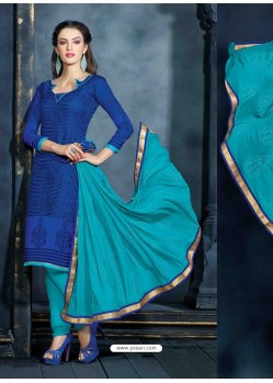 Blue Unique Net Churidar Suit
