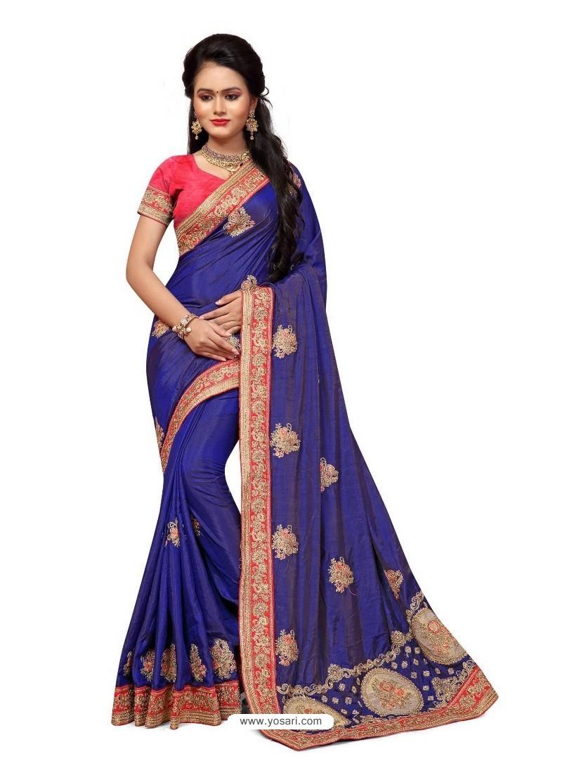 Buy Navy Blue Two Ton Silk Designer Hand Work Saree Sarees