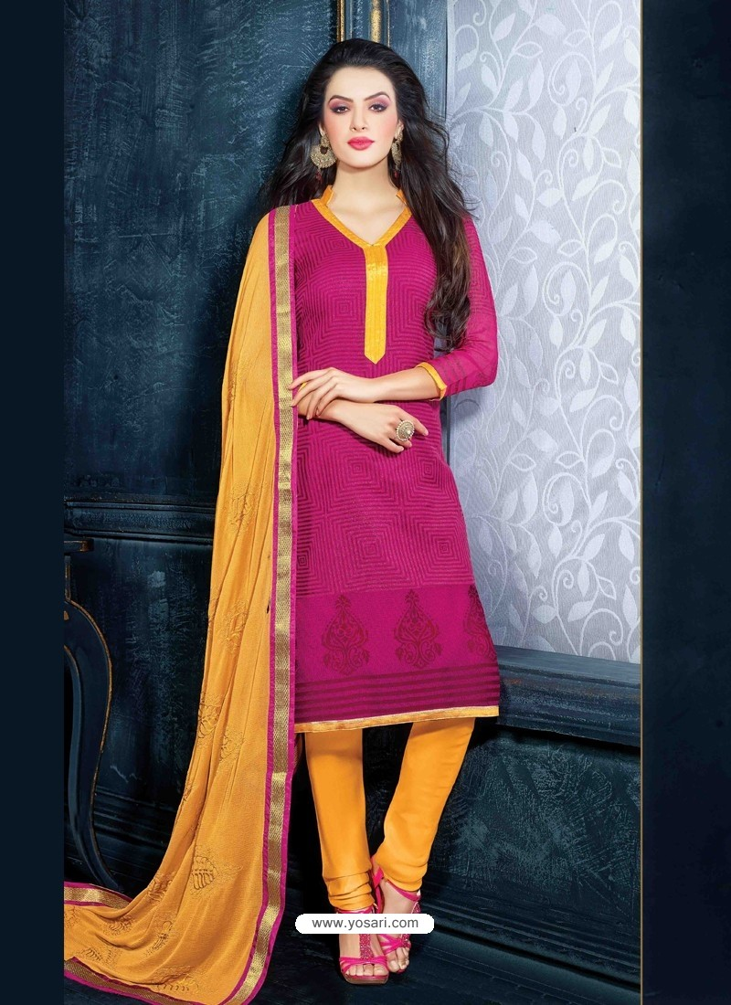 Pink And Mustard Unique Net Churidar Suit
