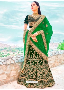 Dark Green Micro Velvet Embroidered Designer Lehenga Choli