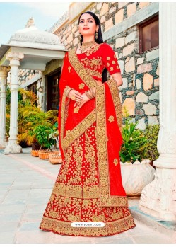 Remarkable Red Micro Velvet Embroidered Wedding Lehenga Choli