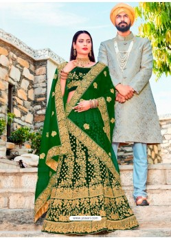Spectacular Dark Green Micro Velvet Embroidered Wedding Lehenga Choli