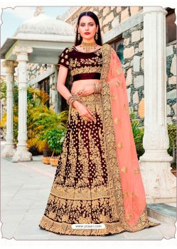 Attractive Maroon Micro Velvet Embroidered Wedding Lehenga Choli