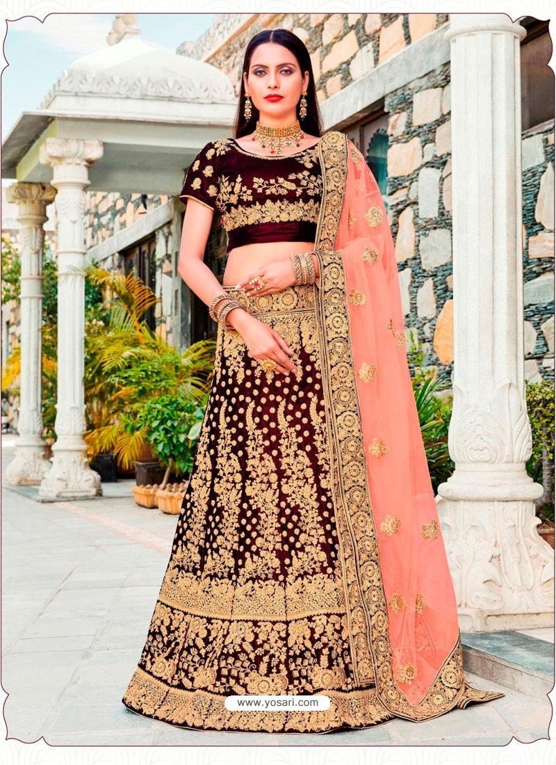 03bc2591ca Buy Attractive Maroon Micro Velvet Embroidered Wedding Lehenga Choli ...